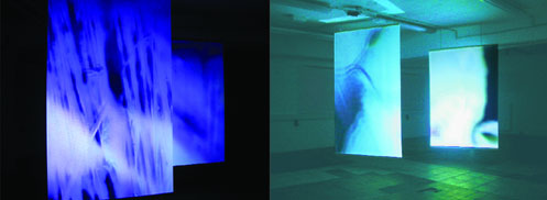 Video Installation infra_blue, Judith Nothnagel - PAN-Kunstforum.de, Emmerich